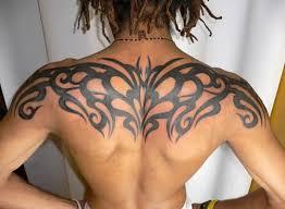 Awesome Upper Back Tribal Tattoos For Men