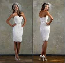 short fitted wedding dress lace white little bridal gown
