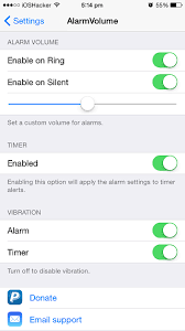 Set custom volume for alarm and timer with AlarmVolume tweak iOS