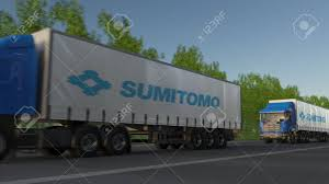 100 Sumitomo Truck Tires Freight Semi S With Corporation Logo Driving Along