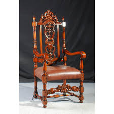 High Back Carved Arm Chair - LuxFam | Luxury Furniture & Accessories | Rare Antique 19th Century American Gothic Handcarved Solid Oak High Back Black Leather Upholstered His Her Throne Chairs Vintage Handcarved Cane Highback Hooded Chair Set Of 8 62 Arts And Crafts Carved Oak Ding Chairs High For Kitchen Table Spanish Conquistador Contemporary Carved Wood Side 43 Sandy Brown Linen Natural Cedar Accent 31092775 About Us Italian Renaissance Style 20th Cent Mahogany Throne Chair With Lion Arms A Back Crest Stretcher Brown Country Armchair C Spning Bedroom Seating Russian Arm Newel Bishops Occasional Blue Lion
