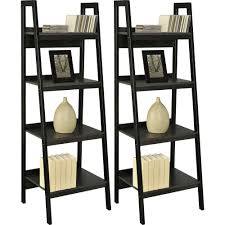 Walmartca Living Room Furniture by Ameriwood Home Lawrence 4 Shelf Ladder Bookcase Bundle Black Set