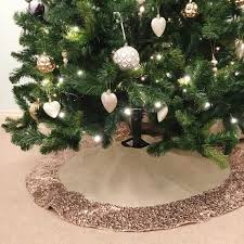 Christmas Tree Skirt With Rose Gold Sequin Trim Made From Hessian Inspiration Of