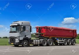 Tractor Trailer Truck On Background Of Trees Of