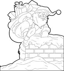 Coloring Page Of Santa Going Down The Chimney