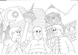 Colouring Picture For Merdeka Day Hari Kemerdekaan Pages