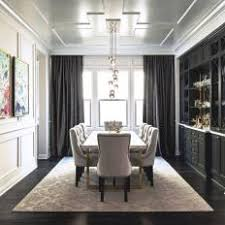 Black And White Transitional Dining Room With Gray Curtains