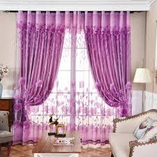 landhaus gardine lila jacquard im wohnzimmer