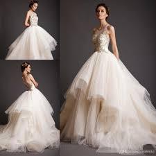 2016 designer gold applique wedding dresses crew see though lace