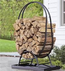 Tubular Steel Oval Wood Rack with Tray