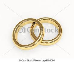 Two 3d Gold Wedding Rings Stock Illustration