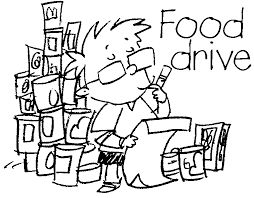 Canned food drive black and white clipart
