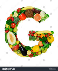 Letter Made Fresh Ve ables Fruits Isolated Stock