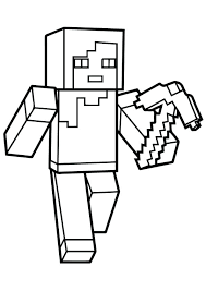 Coloring Pages For Minecraft Printable In Color Steve With A