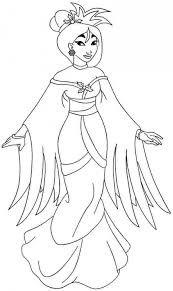 Lovely Princess Mulan In Traditional Dress Coloring Page