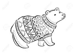 Hand drawn outline print with polar bear in winter sweater Stock Vector