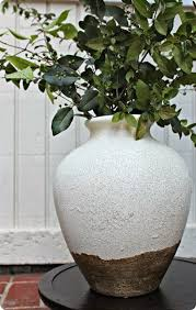 Rustic White and Gold Painted Vase