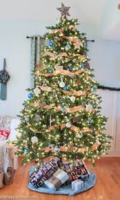 Rustic Blue And Natural Christmas Tree Decor At Thehappyhousie 3 2