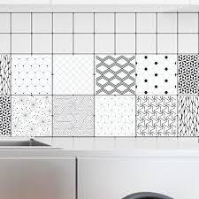 stickers carrelage salle de bain 10 pcs ensemble stickers carrelage rétro noir blanc géométrie mur