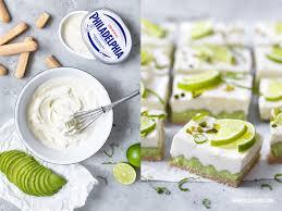 avocado limette cheesecake bars no bake frischkäse