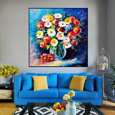 großhandel moderne messer ölgemälde auf leinwand handgemacht schöne bunte attraktive blumen pflanzen wandbild für wohnzimmer schlafzimmer wand dekor