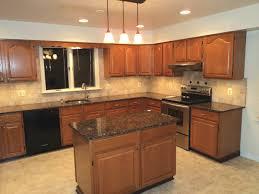 Restaining Oak Cabinets Forum by Tile Backsplash Granite Countertop U0026 Oak Colored Cupboards