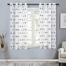 topfinel voile gardinen mit ösen in leinen optik fuß stickerei für kinderzimmer wohnzimmer fenster tülle vorhänge transparente dekoschal 2er set