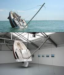 strange art installation looks like sinking ship techeblog