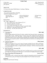 College Resumes Template Sample