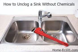 clogged kitchen sink bleach unclog drain garbage disposal without