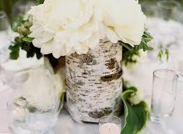White Flower Centerpiece With Birch Tree Wrapped Around Rustic Wedding Centerpieces