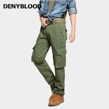 denyblood mens cargo pantalon multi poche militaire vert