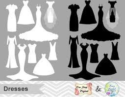 Digital Wedding Dress Clip Art Silhouette Clipart