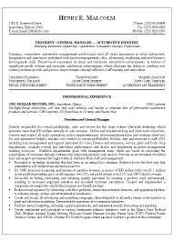 Resume Automotive Service Manager Director BestSampleResume