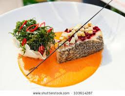 haute cuisine seabass haute cuisine dish herbs vegetable stock photo royalty free