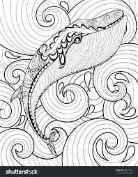 Print Adult Coloring Pages Zentangle Whale In Sea For Page Animal Collection