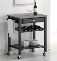 Bathroom Black Metal Kitchen Cart With Napkin Bar And Marble