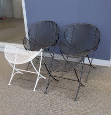 Salterini Iron Patio Furniture by Mid Century Modern Salterini Orange Slice Patio Chairs And