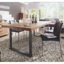 table à manger rectangulaire en chêne recyclé foncé et métal 200cm