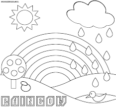 Rainbow And Rain Coloring Page