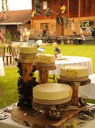 Lace Rustic Traditional Country Style Wedding Cakes Yellow Icing Daisies Logs