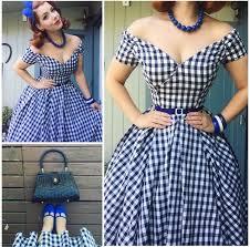 Summer Women Vintage 50s Black White Gingham Off Shoulder Swing Midi Dress Rockabilly Pin Up Vestidos