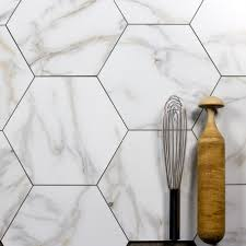 nature hexagon glass marble look tile in calacatta gold search