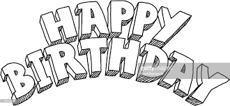 Happy Birthday Lettering Drawing Vector Art