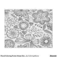 Floral Coloring Poster Home Decor Wall Art