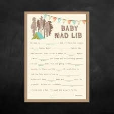 Halloween Mad Libs For 5th Graders by Instant Download Baby Shower Mad Lib Game Camping Themed