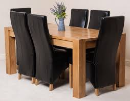 100 6 Oak Dining Table With Chairs Kuba With Black Lola