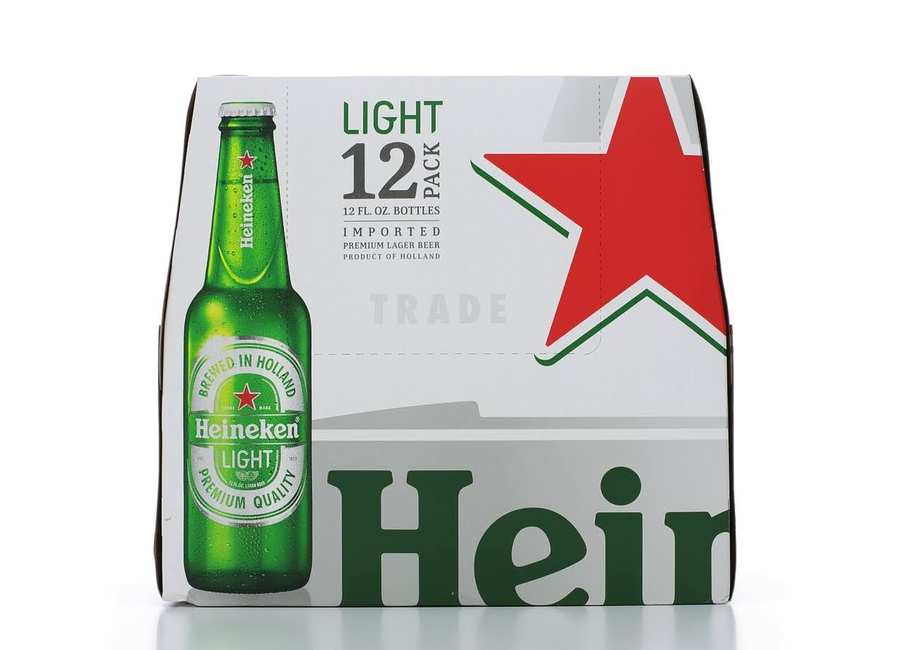 Heineken Light Lager Beer - 12 x 12 oz