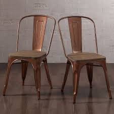 Rustic Kitchen Chairs Set Of 2 Copper Metal Wood Dining Stackable Regarding Stylish Household And Remodel