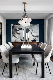 A Blue Accent Wall Emphasizes The Horchow Two Piece Percussion Framed Art Focal Point Of Dining Area